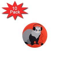 Funny Music Lover Ferret 1  Mini Magnet (10 Pack)