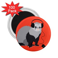 Funny Music Lover Ferret 2.25  Magnets (100 pack)