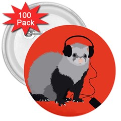 Funny Music Lover Ferret 3  Buttons (100 Pack)