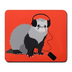 Funny Music Lover Ferret Large Mousepads