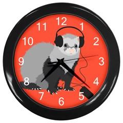 Funny Music Lover Ferret Wall Clocks (Black)