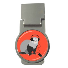 Funny Music Lover Ferret Money Clips (Round)