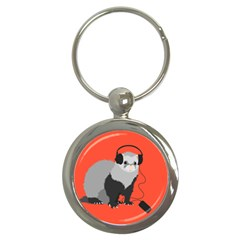 Funny Music Lover Ferret Key Chains (Round)