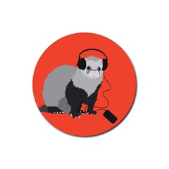 Funny Music Lover Ferret Rubber Round Coaster (4 pack)