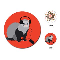 Funny Music Lover Ferret Playing Cards (Round)