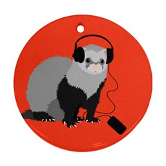 Funny Music Lover Ferret Round Ornament (Two Sides)