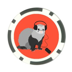Funny Music Lover Ferret Poker Chip Card Guards (10 pack)