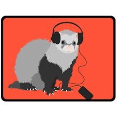 Funny Music Lover Ferret Fleece Blanket (Large)