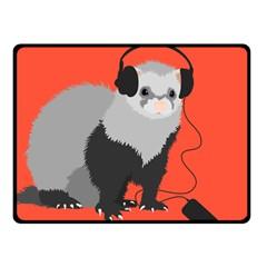 Funny Music Lover Ferret Fleece Blanket (small)