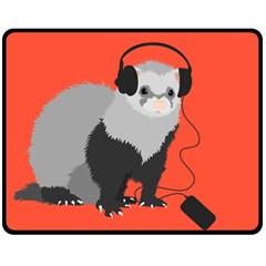 Funny Music Lover Ferret Double Sided Fleece Blanket (medium)