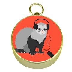 Funny Music Lover Ferret Gold Compasses