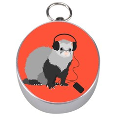 Funny Music Lover Ferret Silver Compasses