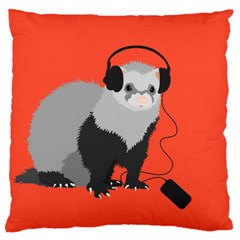 Funny Music Lover Ferret Large Flano Cushion Cases (One Side)