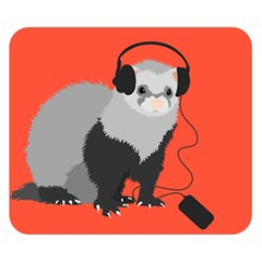 Funny Music Lover Ferret Double Sided Flano Blanket (small)