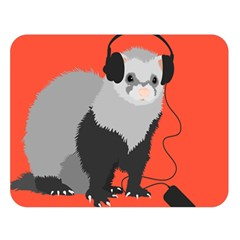 Funny Music Lover Ferret Double Sided Flano Blanket (large)