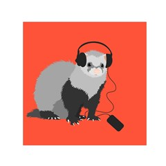 Funny Music Lover Ferret Small Satin Scarf (square)