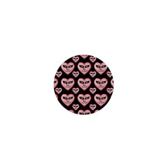 Angry Devil Hearts Seamless Pattern 1  Mini Buttons