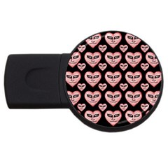 Angry Devil Hearts Seamless Pattern USB Flash Drive Round (2 GB)
