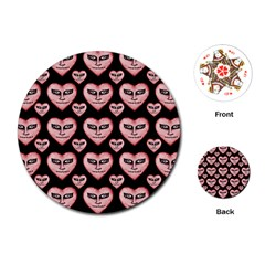 Angry Devil Hearts Seamless Pattern Playing Cards (round)
