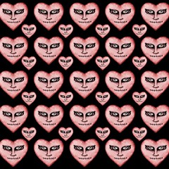 Angry Devil Hearts Seamless Pattern Magic Photo Cubes
