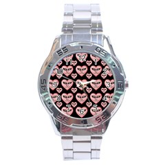 Angry Devil Hearts Seamless Pattern Stainless Steel Men s Watch