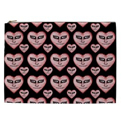 Angry Devil Hearts Seamless Pattern Cosmetic Bag (XXL)