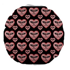 Angry Devil Hearts Seamless Pattern Large 18  Premium Round Cushions