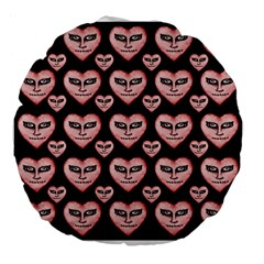 Angry Devil Hearts Seamless Pattern Large 18  Premium Flano Round Cushions