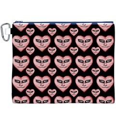 Angry Devil Hearts Seamless Pattern Canvas Cosmetic Bag (XXXL)