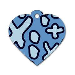 Blue maths signs Dog Tag Heart (One Side)