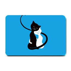 Blue Hugging Love Cats Small Doormat