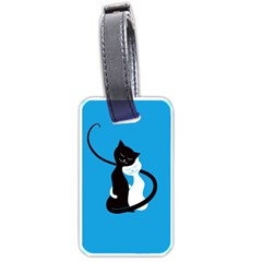 Blue Hugging Love Cats Luggage Tags (One Side)
