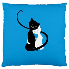 Blue Hugging Love Cats Large Cushion Cases (two Sides)