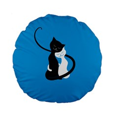 Blue Hugging Love Cats Standard 15  Premium Flano Round Cushions