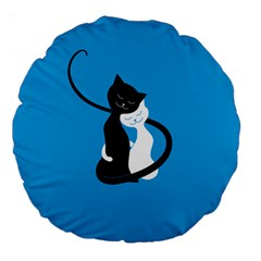 Blue Hugging Love Cats Large 18  Premium Flano Round Cushions