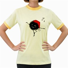 Dancing Evil Christmas Bug Women s Fitted Ringer T Shirts