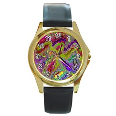 Happy 3 Round Gold Metal Watches