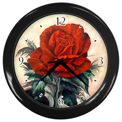Red Rose #2 Wall Clock (black)