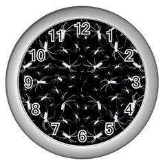 Spiders Seamless Pattern Illustration Wall Clocks (silver)