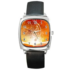 Wonderful Christmas Design With Snowflakes  Square Metal Watches