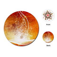 Wonderful Christmas Design With Snowflakes  Playing Cards (Round)