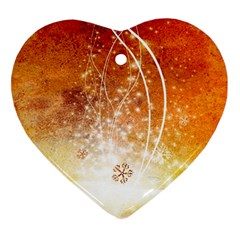 Wonderful Christmas Design With Snowflakes  Heart Ornament (2 Sides)