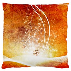 Wonderful Christmas Design With Snowflakes  Large Cushion Cases (One Side)