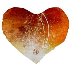 Wonderful Christmas Design With Snowflakes  Large 19  Premium Heart Shape Cushions