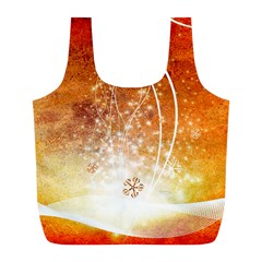 Wonderful Christmas Design With Snowflakes  Full Print Recycle Bags (L)
