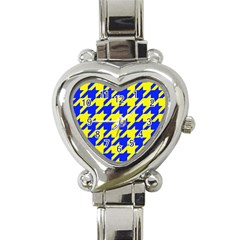 Houndstooth 2 Blue Heart Italian Charm Watch