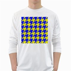 Houndstooth 2 Blue White Long Sleeve T Shirts