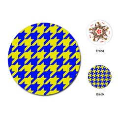 Houndstooth 2 Blue Playing Cards (Round)