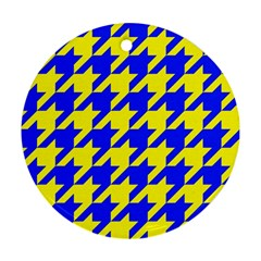 Houndstooth 2 Blue Round Ornament (Two Sides)