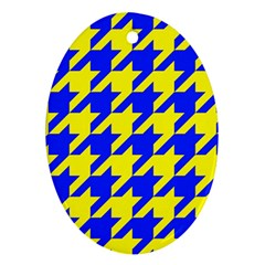 Houndstooth 2 Blue Oval Ornament (Two Sides)
